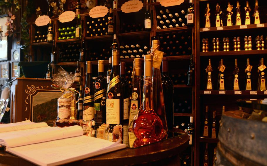 A wide variety of wines are offered at Stefan's Wine Paradise in Sankt Goar, Germany.  He and his family also produce delightful liquors, such as blackberry brandy, made from fruits grown on surrounding hills.