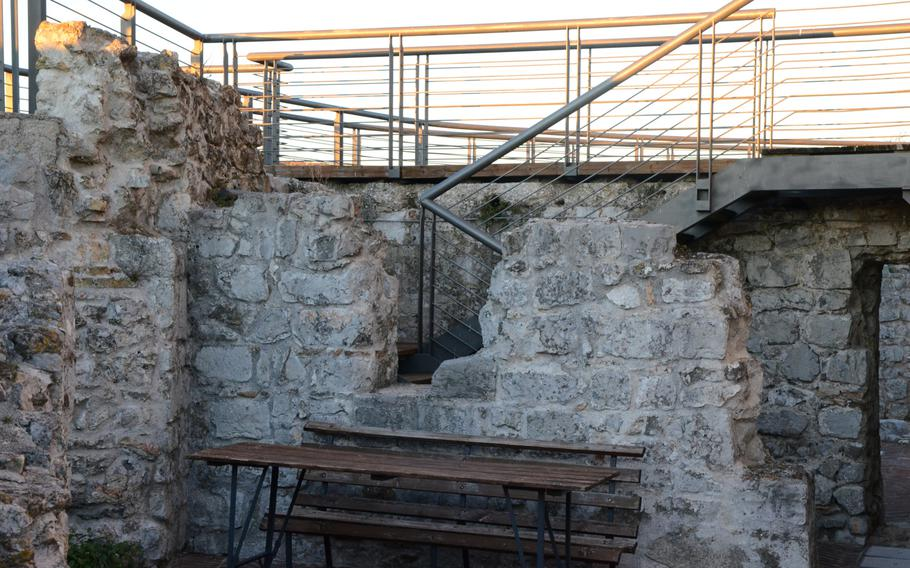 A walking platform with rails at the Fortress of Monfalcone, Italy, offers stunning views of the surrounding area.