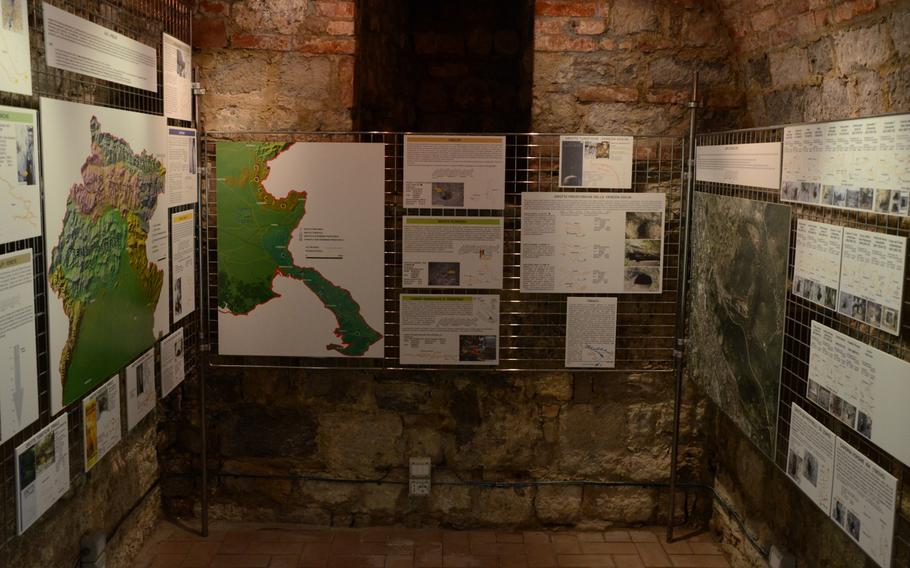 Displays show the landscape of the region around the Fortress of Monfalcone in its museum.