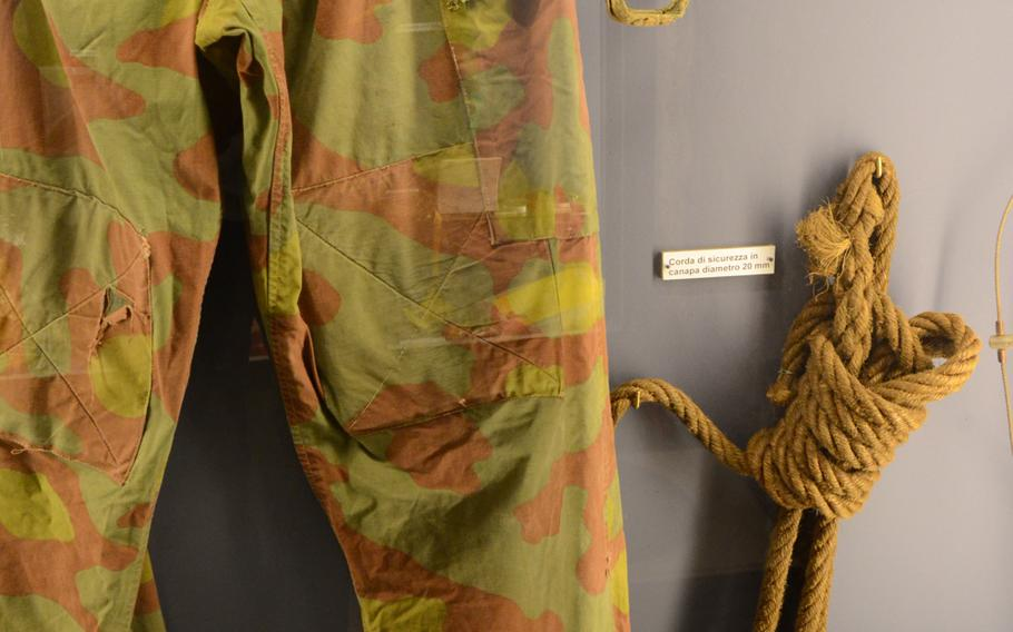 Equipment and clothing used for exploration of the area's numerous caves are displayed at the Fortress of Monfalcone in Italy.