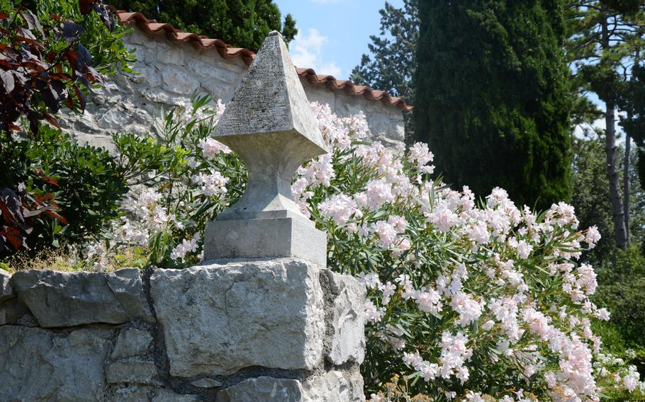 During the summer months, the courtyard of Castello di Duino is surrounded by beautiful flowers.