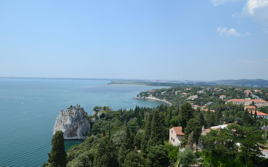 From atop a tower in Castello di Duino in the small town of Duino, Italy, a visitor can enjoy a sweeping view of the Gulf of Trieste and the old fortress known to locals as Rocca.