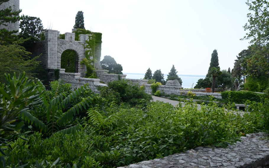 During the summer months, the courtyard of Castello di Duino is surrounded by lush green plants and beautiful flowers, but a view from the tower is just as intense, as you peer across the Gulf of Trieste in northeastern Italy.