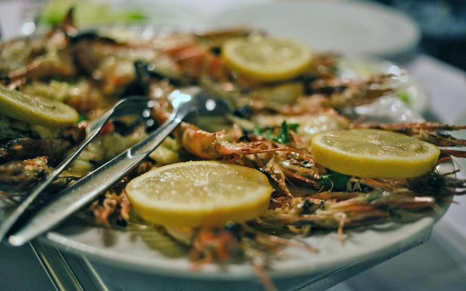 Grilled shrimp are a house specialty among the Portuguese offerings at Lissabon in Kaiserslautern.