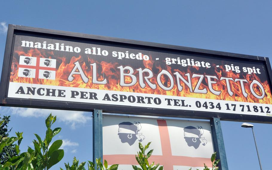 Al Bronzetto is a restaurant located on a road that's between the back and front gates of Aviano Air Base, Italy. It's operated by a family originally from Sardinia and specializes in roasted pig - though you've got to order ahead to get that.