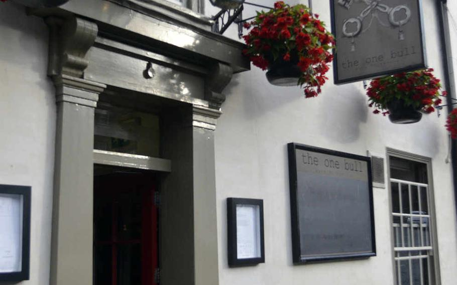 The entrance to The One Bull, a pub in the historic heart of Bury St. Edmunds, England.