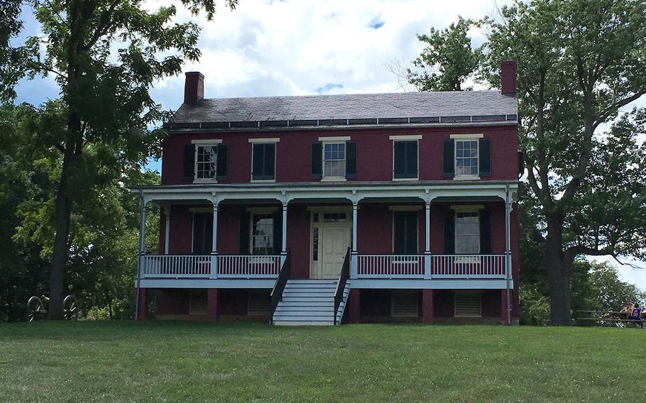 The Worthington family farm house near Frederick. Md. Confederate artillery fired on Union troops from the front yard in the Battle of Monocacy on July 9, 1864.
