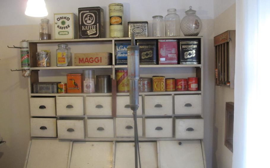 Vintage products are assembled in a general store exhibit at Museum im Westrich in Ramstein, Germany. The store is a recreation of a corner store that stood on a nearby street until the 1960s.