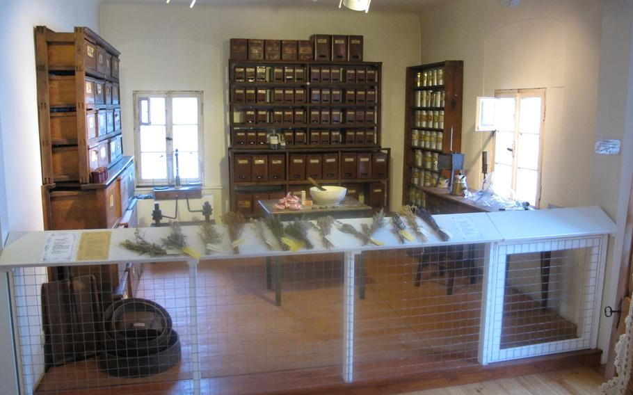 The herb chamber is one of several small exhibitions in Museum im Westrich in Ramstein, Germany. The room depicts a local pharmacy from around 1900.
