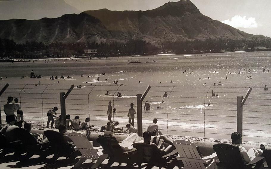 Waikiki Beach on Oahu, Hawaii, was fortified with a barbed-wire fence during World War II in the event of an invasion by the Japanese, as shown in this undated photo now on display at the Bishop Museum in Honolulu.