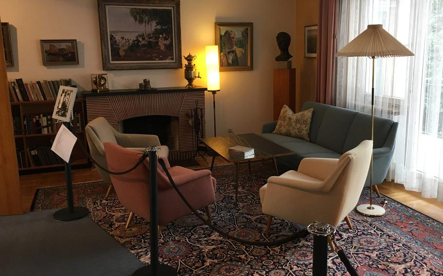 The simplicity of the living room at the Theodor Heuss house is much like the rest of the house, a monument to the nature of Germany's first president, known for his affability and unpretentious ways.