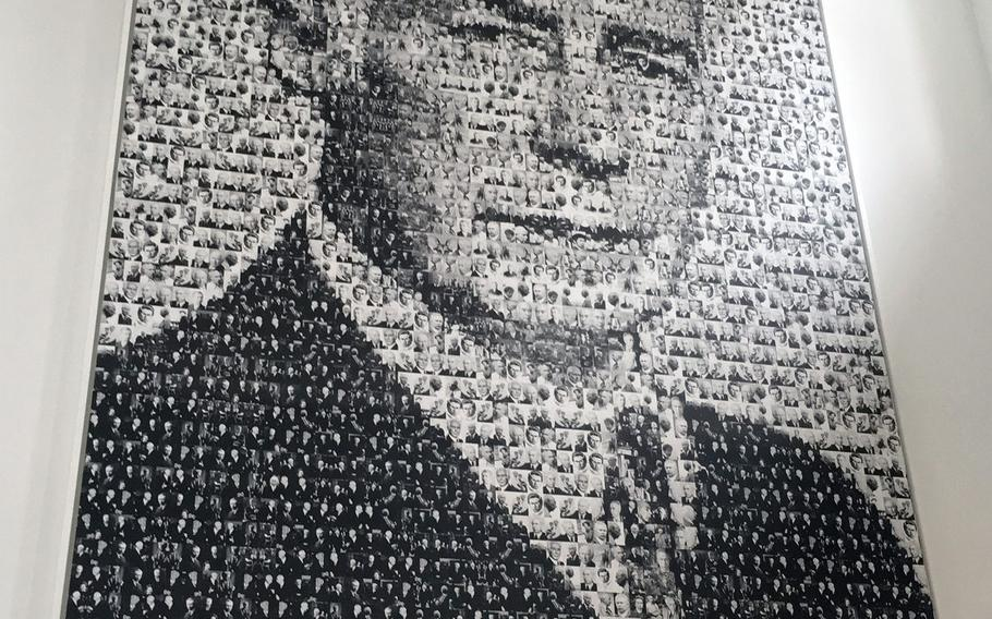 Inside the Theodor Heuss House in Stuttgart, Germany, hangs a large portrait of the man, which is composed of hundreds of smaller pictures.
