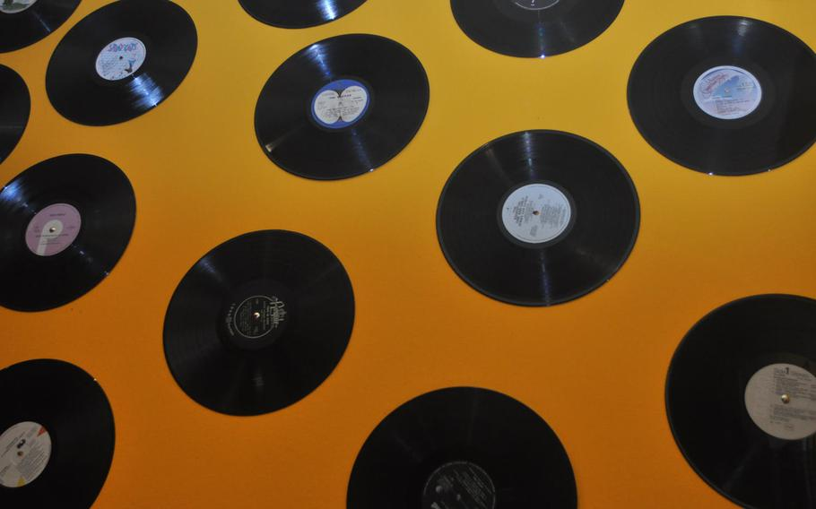 Copies of records, many of them from American or British artists from the  1950s or 1960s, line a wall at Rico's.