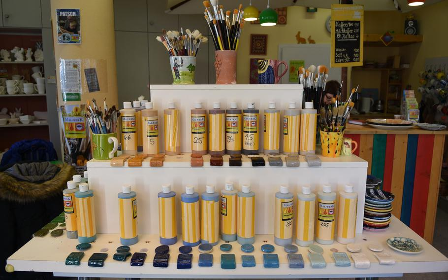 Mal-Werk offers a variety of paint colors, paint brushes, stencils and other tools for decorating ceramics. The cost of pieces includes the paint and firing in the shop's kiln.