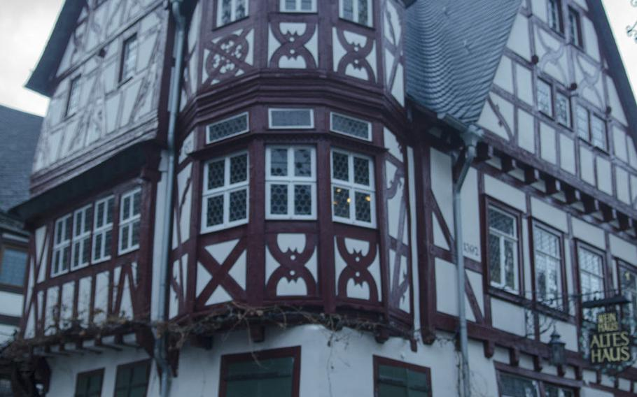 The altes haus, or old house, in Bacharach, Germany, was built in 1368 in the traditional half-timber style of medieval Germany. Bacharach is a small town nestled in the Rhine gorge with great views and hiking opportunities.