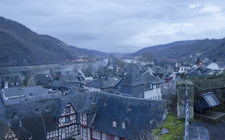 A view of the town of Bacharach, Germany, and the nearby Rhine River and Gorge. The first historic mention of Bacharach dates from the early Middle Ages.