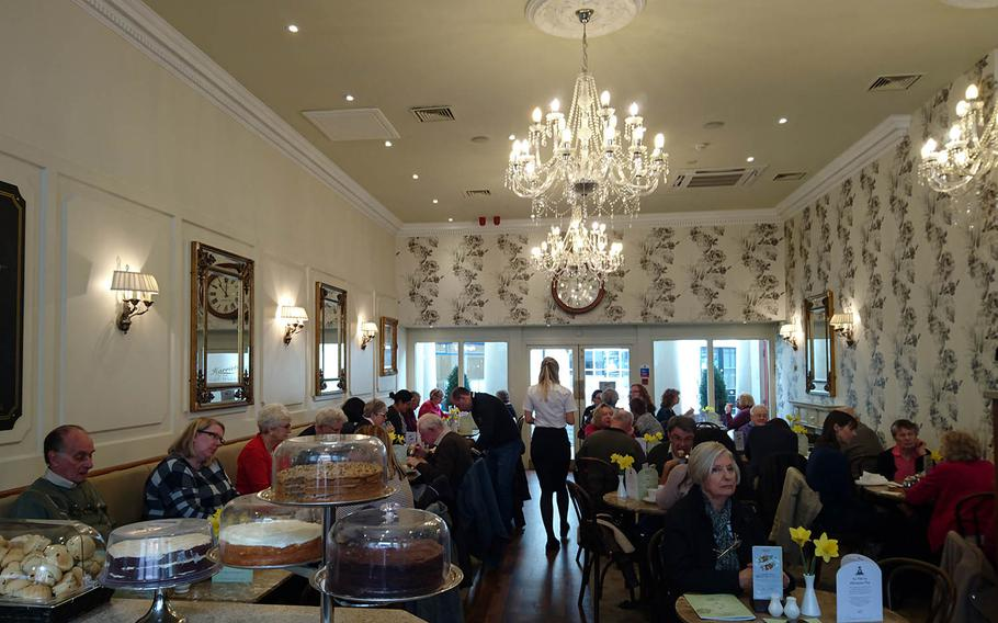 The dining area of Harriets Cafe Tearooms in Bury St. Edmunds, Suffolk, was busy on a recent visit. A pianist plays on select afternoons during the tea service.