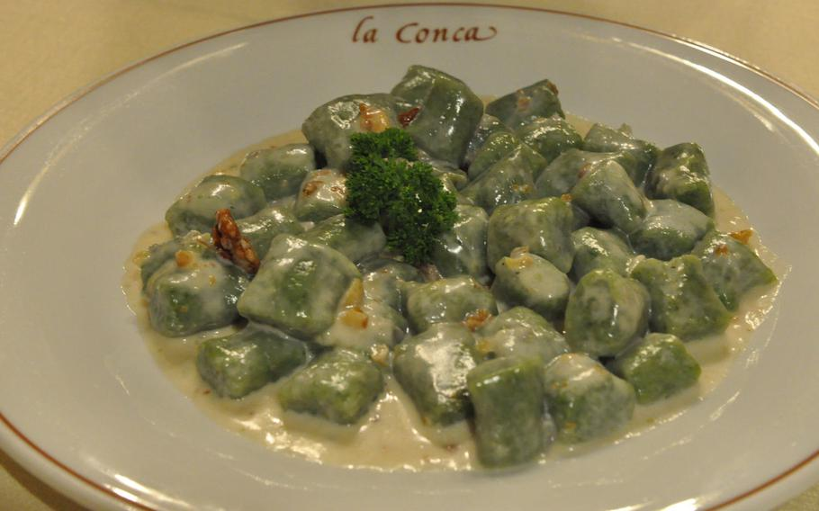 This first-course option during a recent visit to La Conca included green gnocchi in a cheese and walnut sauce.