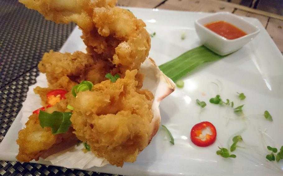 The salt and pepper squid appetizer from the Giggling Squid restaurant in Bury St. Edmunds, Suffolk, Tuesday, May 2, 2017. It was well battered and crunchy on the outside and the squid was very tender with a spicy kick in the aftertaste.