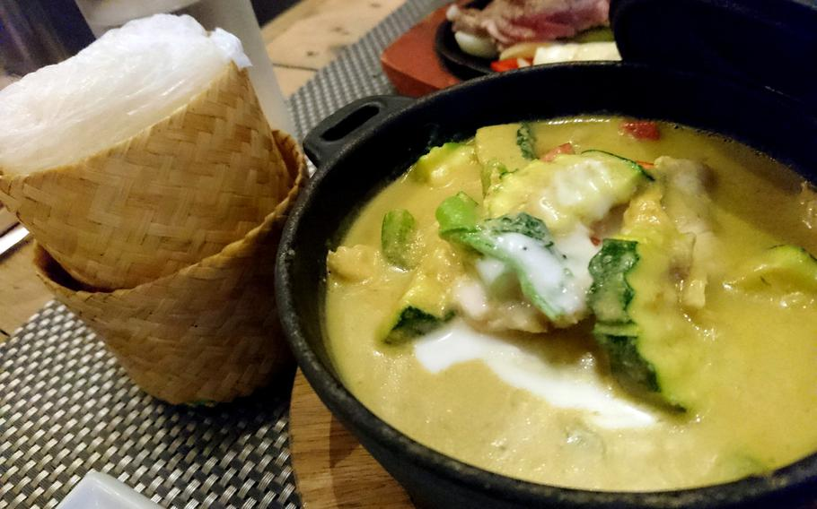 The Thai green curry dinner dish from the Giggling Squid restaurant in Bury St. Edmunds, Suffolk, Tuesday, May 2, 2017. Green curry is a Central Thai variety of curry.