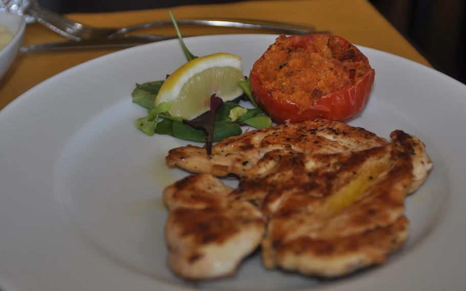 Grilled chicken was a second-course option at Forc-Eat during a recent visit. Monday through Friday, the restaurant offers a trip to the buffet table, one first course, one second course, water, wine and coffee for a set price  of 12.50 euros.