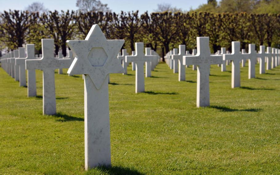 A Star of David marks the grave of a Jewish soldier at St. Mihiel American Cemetery on the outskirts on Thiaucourt, France. There are 46 of them among the 4,107 Latin crosses at the cemetery.
