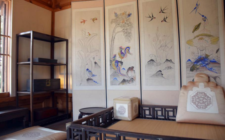 Furniture and decorations in the women's quarters of the nobleman's house at the Korea Furniture Museum in Seoul.
