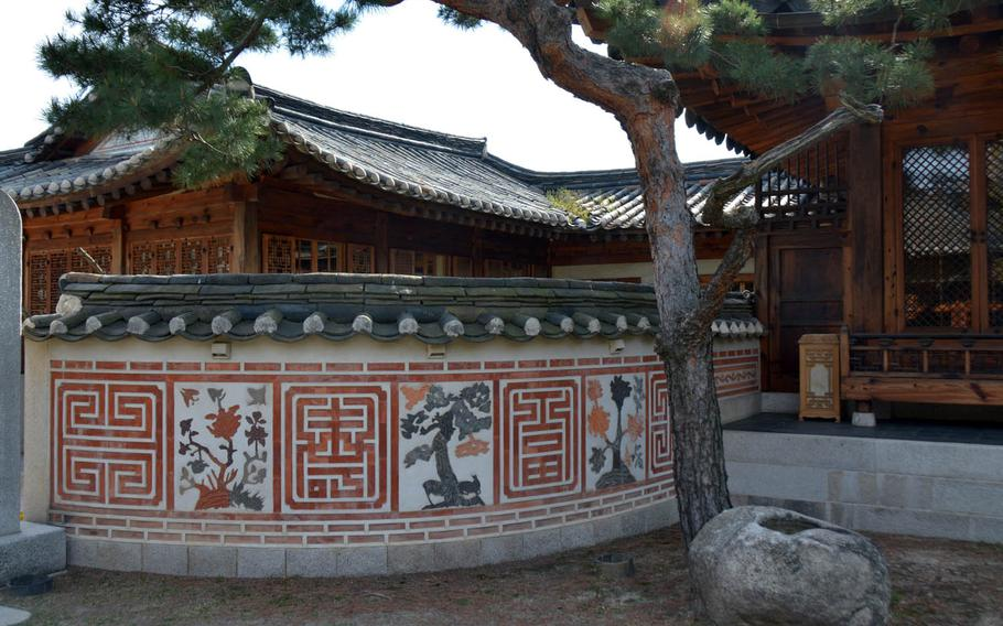 A view of the Korea Furniture Museum's exterior from the courtyard. The museum comprises 10 traditional Korean dwellings known as hanok that have been salvaged and reassembled on a hilltop in northern Seoul.