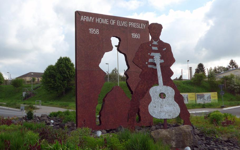 This statue of Elvis Presley stand in the middle of a traffic circle across from where the main gate to Ray Barracks in Friedberg, Germany, was during his time in the service there from 1958 to 1960.