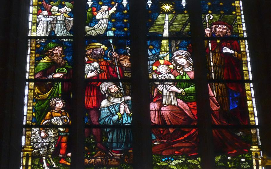 This beautiful stained-glass window in the Stadtkirche, or City Church, in Friedberg, Germany is known as the Christmas window.