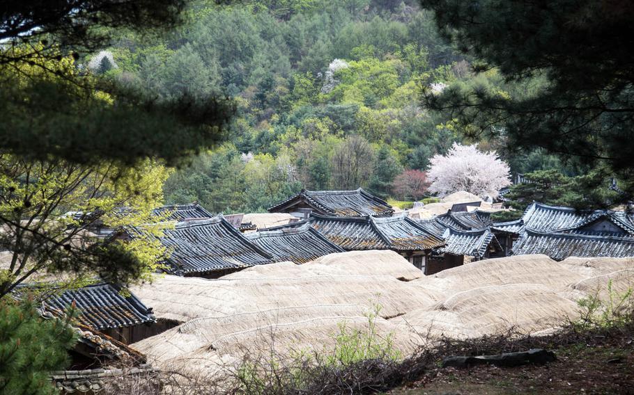 Overlooking the Korean village set at Namyangju Studios in Namyangju, South Korea.