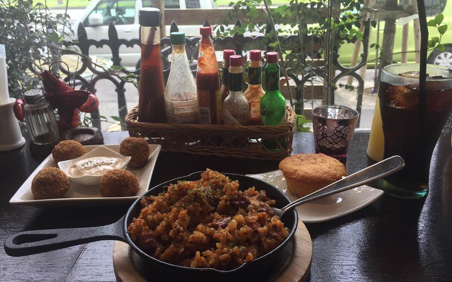 Boudin balls, jambalaya and cornbread at Cafe Orleans near Camp Foster, Okinawa.