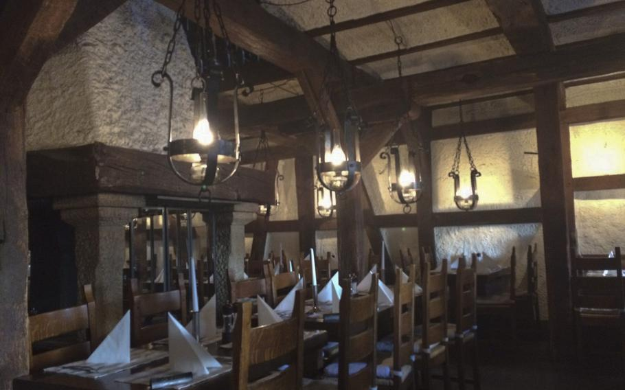 The indoor seating at Weber's Wikinger in Wiesbaden offers a warm and cozy location for the cold winter months, decorated in traditional German style.