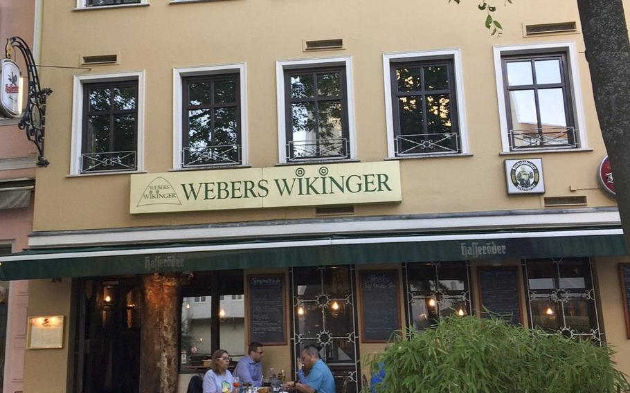 Weber's Wikinger in Wiesbaden serves traditional German food, despite its name. The name actually comes from the shape of the alley in Wiesbaden's old city where it is located, which resembles a Viking longship from above.
