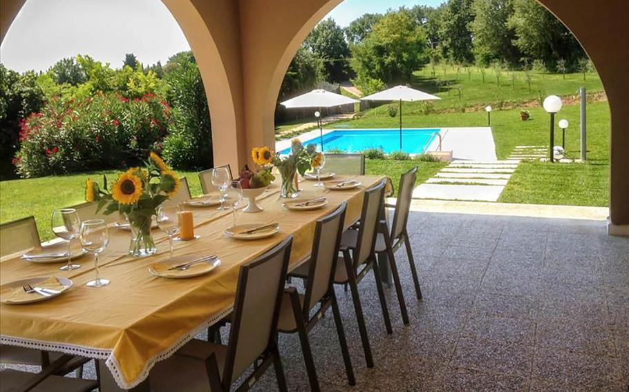 """Villa Gasco is surrounded by rolling vineyards near the gorgeous Lake Garda in Verona, Italy. The vacation rental is one of six that Frommers is offering to families of retired military members for a free five-night stay through its """"6 for 60"""" contest."""