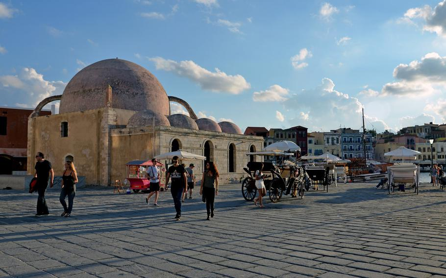 The Hasan Pasha Mosque on Chania, Crete's Old Harbor. It dates back to the second half of the 17th century and is now used for exhibitions.