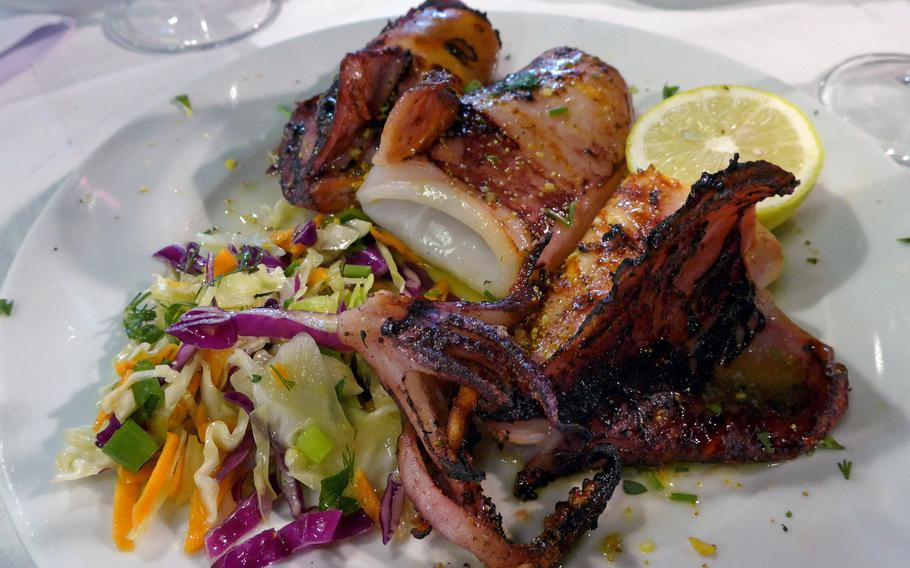 A delicious grilled squid as served at one of the restaurants lining the Old Port in Chania, Crete.
