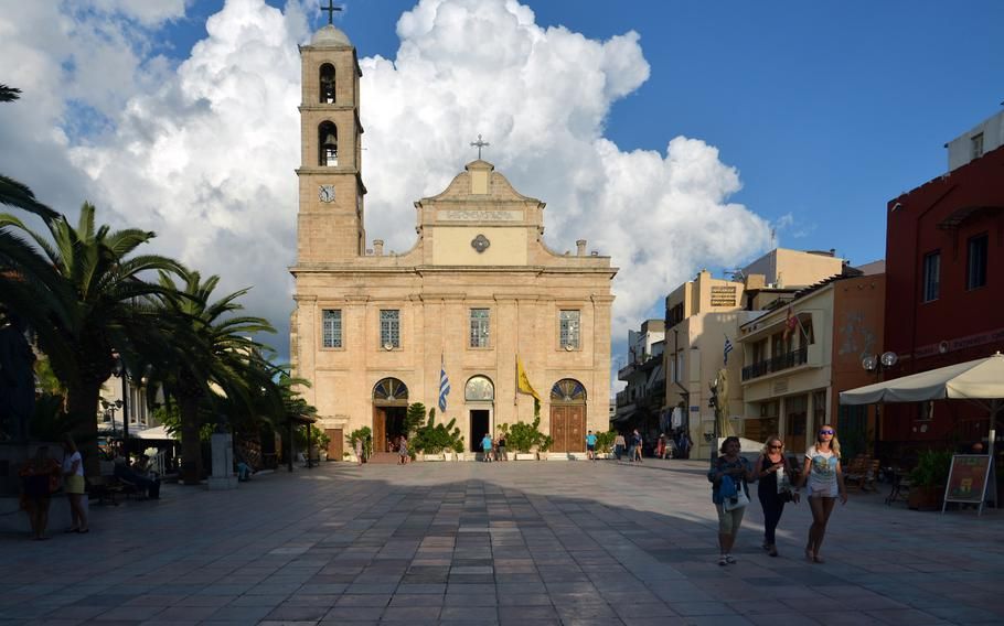 The Chania Cathedral. Built on the site of an earlier church, the cathedral was turned into a soap factory during the Ottoman rule of Crete. it was completed in 1860.