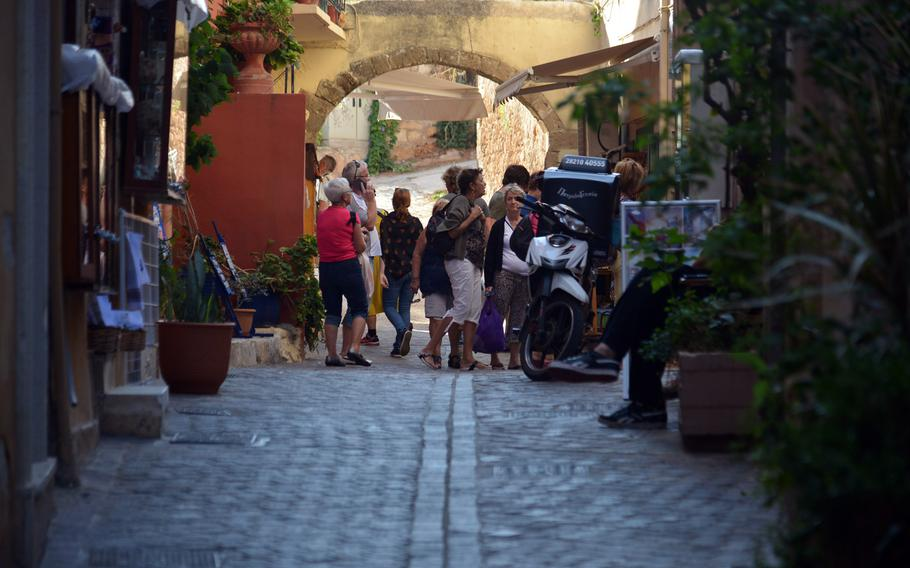 Old town Chania is full of cobblestone alleys lined with shops and restaurants.