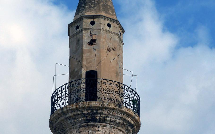 The minaret of the Aga mosque in Chania, Crete. Chania has been ruled by the Romans, Byzantines, Venetians, Ottoman Turks and others over the centuries.