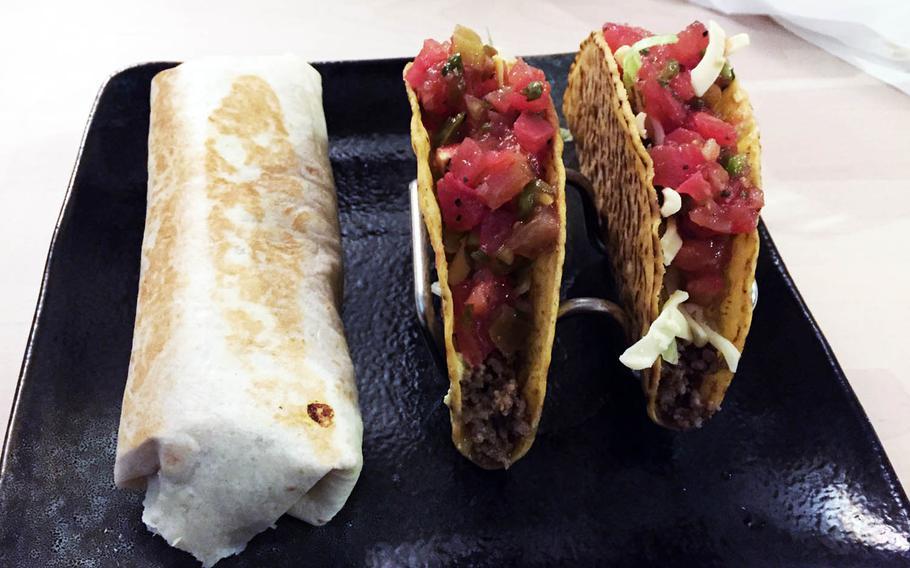 A burrito and tacos from Tacos House YAS near Yokosuka Naval Base, Japan.