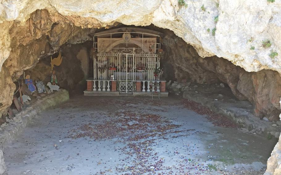 The cave beneath Santuario dell'Avvocata where a 15th century shepherd claimed the Madonna appeared to him while he dozed and inspired him to create the sanctuary. The cave now has a tableau and an altar for conducting ceremonies.