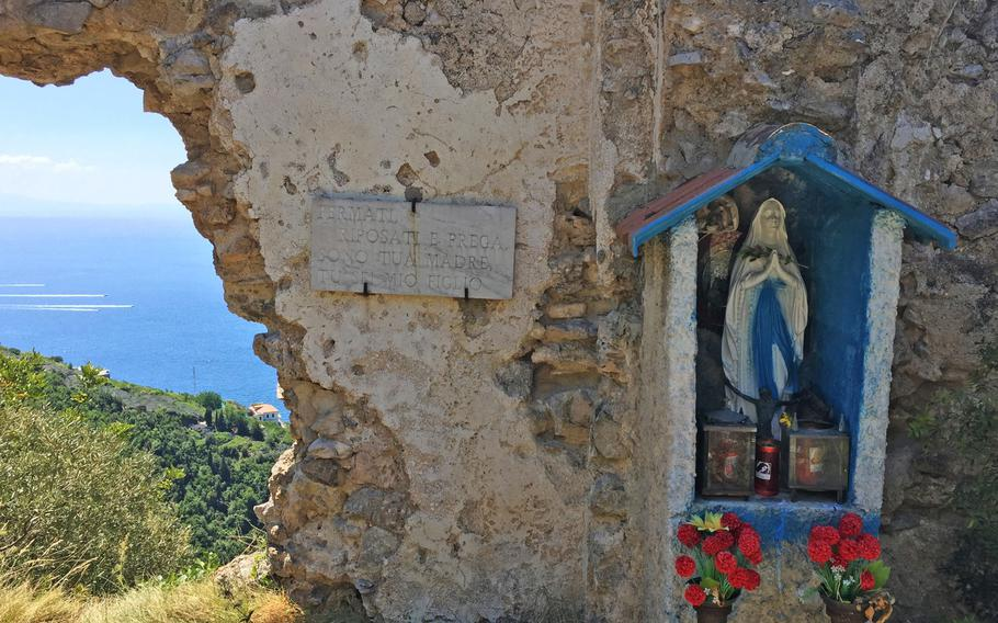 Shrines are set up along the trail to Santuario dell'Avvocata in Maiori, Italy, for the benefit of those who make  a religious pilgrimage on the Monday after Pentecost.