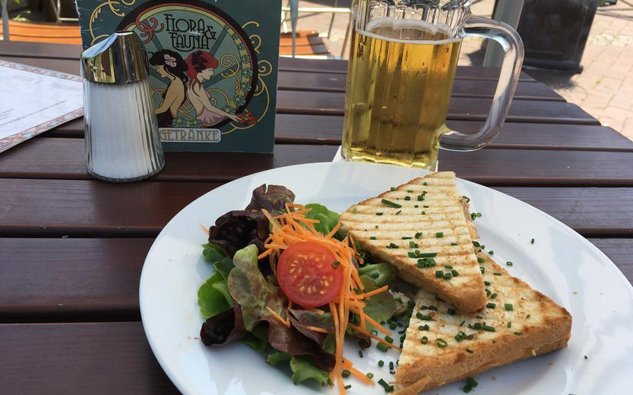 Flora & Fauna offers typical outdoor beer garden seating as well as tables indoors. The restaurant is open daily and has a reasonably priced menu. A Mediterranean sandwich with melted feta was the right thing to have with a cool beer on a hot Stuttgart day.