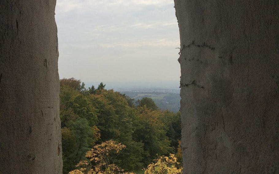 A view from the observation tower adjacent to Berggasthof Kellerskopf, a restaurant located in the wooded hills just outside of Wiesbaden, Germany.