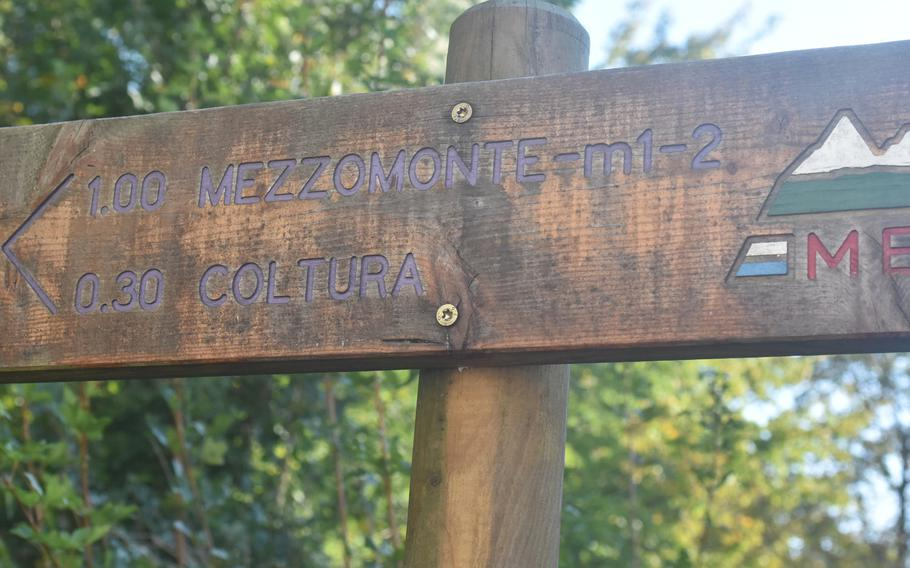 This sign marks the start of the trail from Gorgazzo to Mezzomonte. If you're not in top shape, count on about two hours to get up the trail and an hour or so back.