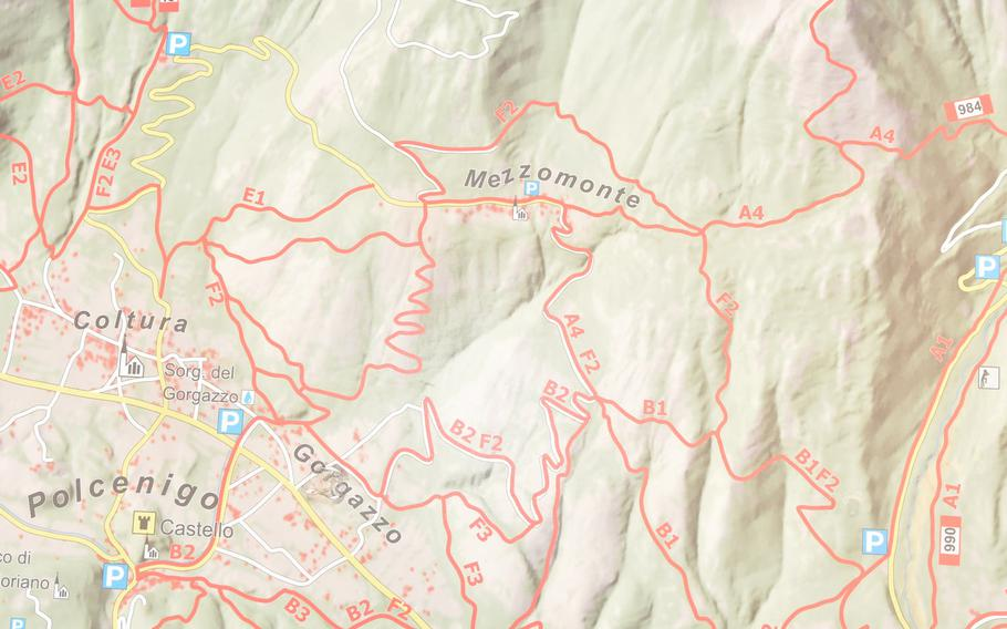 This map features various trails in the Dolomites not far from Aviano, Italy. A trail linking Gorgazzo to Mezzomonte is one of the shortest routes and decent choice for beginning hikers.