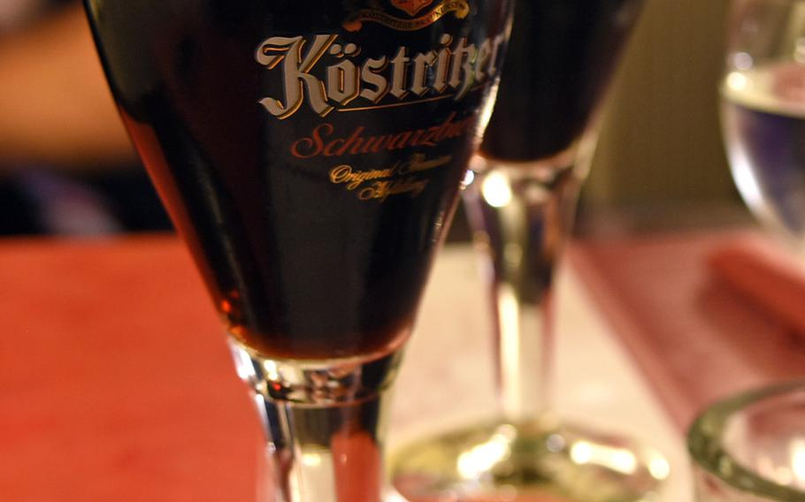 Schwarzbier, or black beer, goes with just about anything at Spinnraedl.