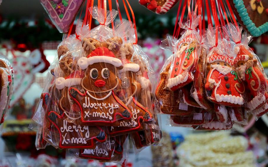 Iced ginger Christmas cookies await customers at the Christmas Market in Kaiserslautern, Germany, on Nov. 27, 2017. Christmas markets and winter festivals abound throughout Europe this time of year.