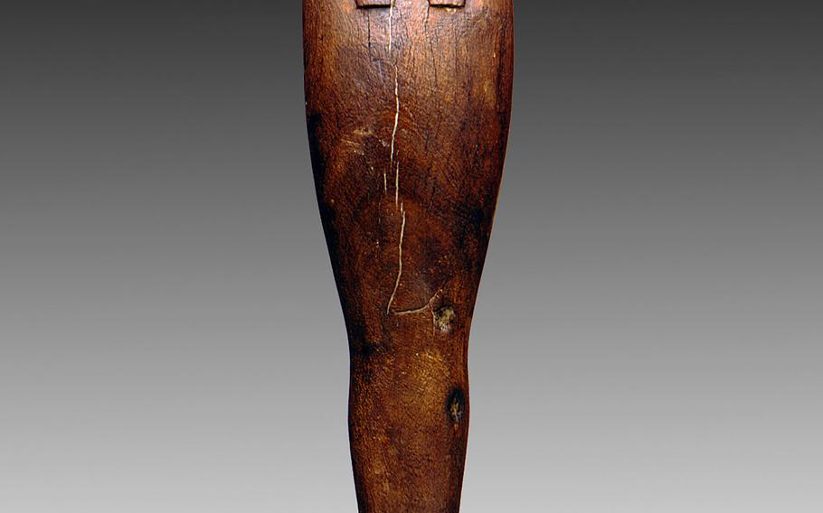 Wood statue from the Ptolemaic Period of Ancient Egypt. Statuettes of Ptah, Sokar and Osiris, the god of the dead, were typical funerary equipment in the first millennium B.C.